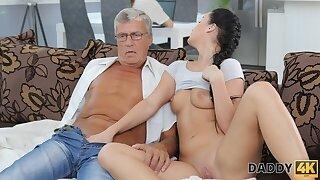 DADDY4K. Aroused cutie permits BFs daddy to fuck her greedy
