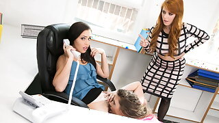 Getting A Rimjob In My Boss's Office (Lesbian Threesome)